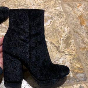 Marc Fisher black velvet boots